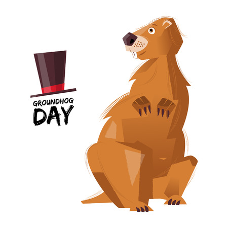 Groundhog Day. Groundhog on white background. Vector illustration 向量圖像
