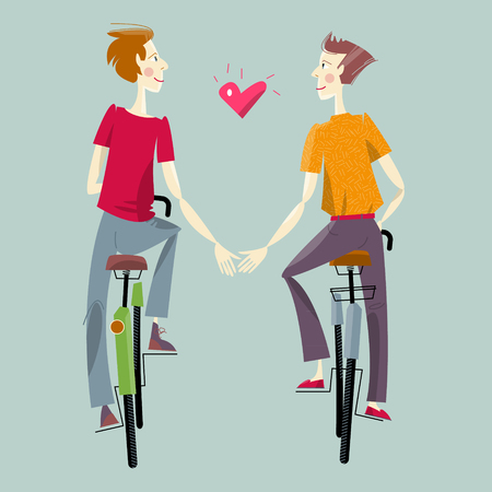 homosexual couple: Two men, riding bikes. Happy Valentine�s day. Vector illustration