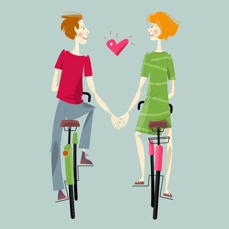 teamwork cartoon: Young couple in love, riding bikes. Happy Valentine�s day. Vector illustration