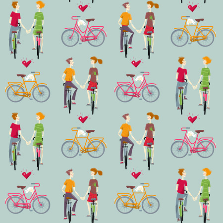 heterosexual: Young couple in love, riding bikes. Happy Valentine's day. Seamless background pattern. Vector illustration