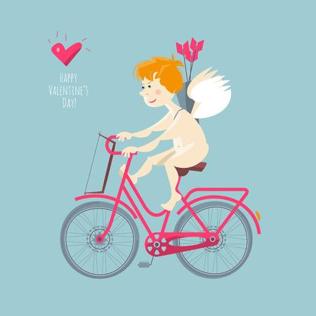 baby angel: Cupido sella a una bicicletta. giorno di S. Valentino felice. illustrazione di vettore