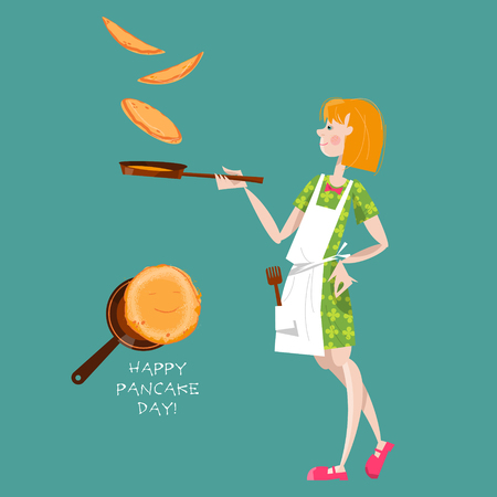 fasching: Girl tosses pancakes on a frying pan. Happy Pancake Day! Vector illustration