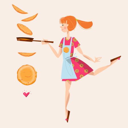 Girl tosses pancakes on a frying pan. Happy Pancake Day! Vector illustration