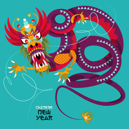 dragon year: Chinese New Year. Dragon dance. Greeting card. Vector illustration