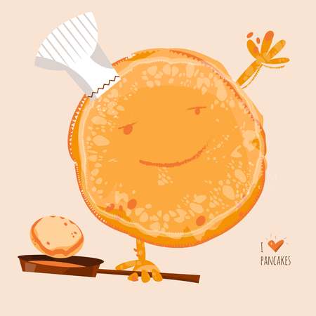 cartoon kitchen: Amo las crepes. Feliz d�a de la crepe! ilustraci�n vectorial