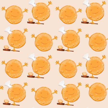 パンケーキが大好き。幸せなパンケーキの日!シームレスな背景パターン。ベクトル図  イラスト・ベクター素材