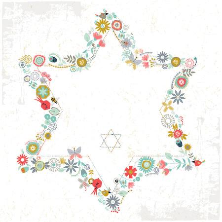 ダビデの星の形花の飾り。グリーティング カード テンプレートです。ベクトル図