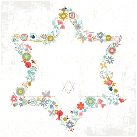 cartoon berries: Star of David shaped floral ornament. Greeting Card. Template. Vector illustration