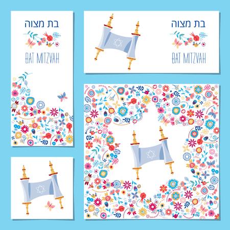 bate: Conjunto de tarjetas de invitación de Mitzvah del palo con el rollo de la Torá y el ornamento floral. Modelo. ilustración vectorial Vectores
