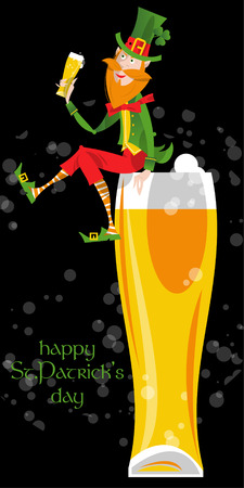 clover face: Leprechaun with a beer. St. Patricks Day. Greeting card. Vector illustration