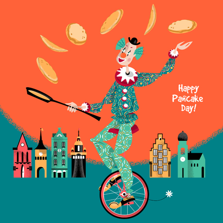 unicycle: ?lown on unicycle juggling pancakes. Vector illustration Illustration