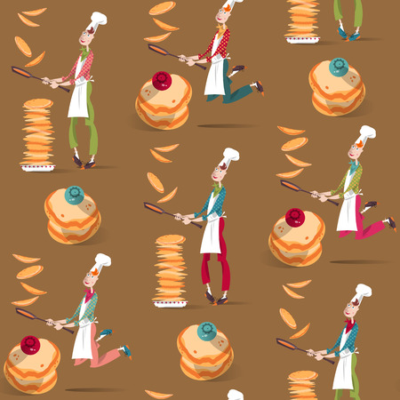 Cook boy tosses pancake in frying pan. Happy Pancake Day! Seamless background pattern. Vector illustration Stock Illustratie