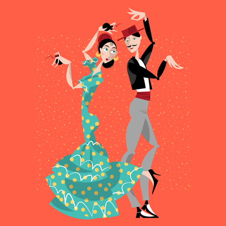 Flamenco dancers. Spanish traditions. Vector illustration