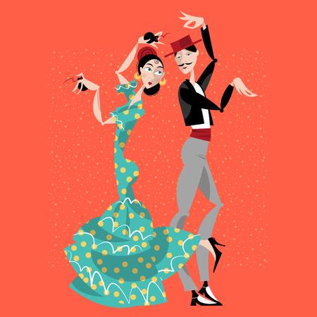 Flamenco-Tänzer. Spanische Traditionen. Vektor-Illustration