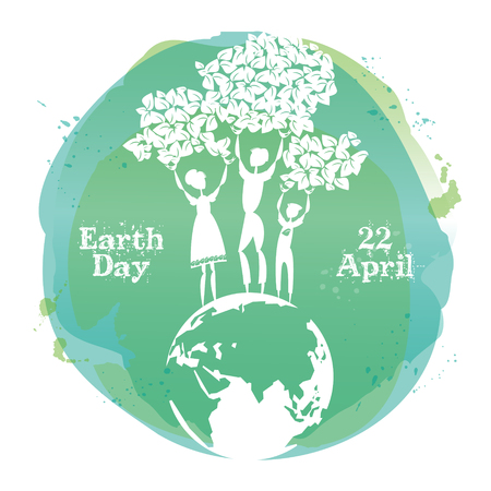 Celebrating card for Earth Day. Vector illustration.