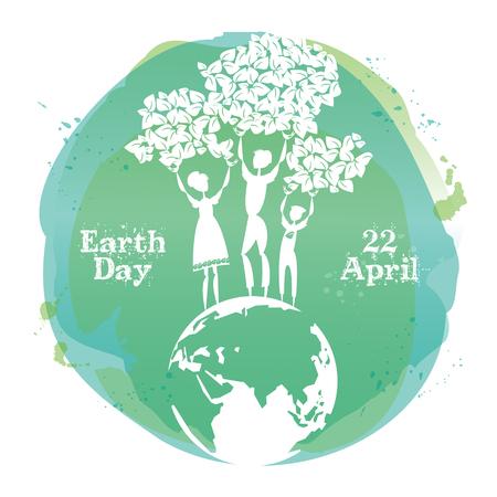 La celebración de la tarjeta para el Día de la Tierra. Ilustración del vector. Ilustración de vector