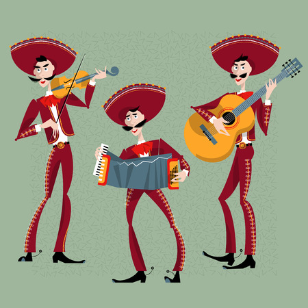 cartoon carnival: Mariachi band. Trio. Mexican traditions. Vector illustration