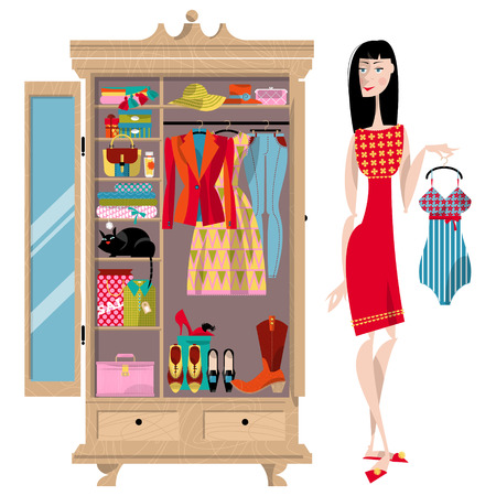 cat suit: Woman standing near an open wardrobe. Closet with clothes, bags, boxes and shoes. Shopping Time. Vector illustration Illustration