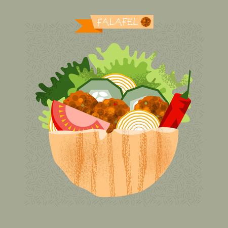 Falafel stuffed pita with vegetables.  Vector illustration