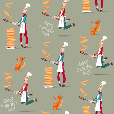 Happy Pancake Day! Cook boy tosses pancake in frying pan. Seamless background pattern. Vector illustration Ilustracja