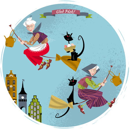 glad: Elderly women on broomsticks with cat and kettle. Scandinavian Easter. Glad Pask! Vector illustration Illustration