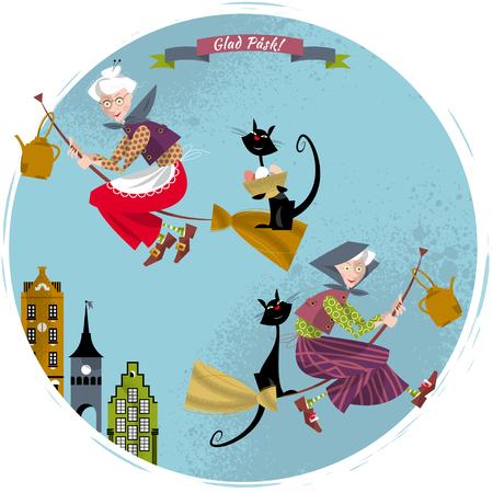 Elderly women on broomsticks with cat and kettle. Scandinavian Easter. Glad Pask! Vector illustration Illustration