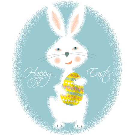 pascua: Happy Easter card. Bunny holding easter egg. Vector illustration