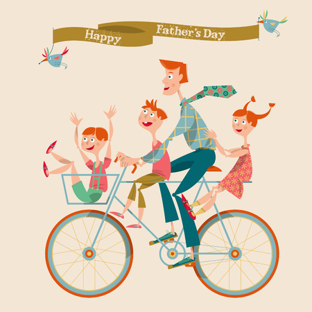 Family enjoying bicycle ride. The father with children. Happy Father's Day. Vector illustration Çizim