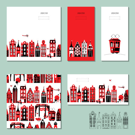 anniversary party: Set of 5 universal cards with old European style buildings. Illustration