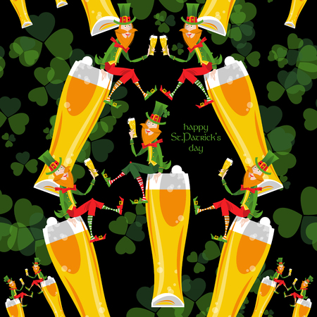 clover face: Leprechaun with a beer. St. Patricks Day. Seamless background pattern. Vector illustration Illustration
