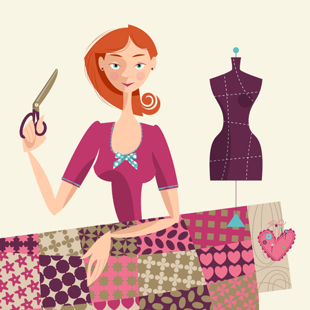 Seamstress holding a scissors. Sewing workshop. Vector illustration.