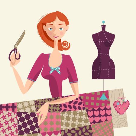 quilt: Seamstress holding a scissors. Sewing workshop. Vector illustration. Illustration
