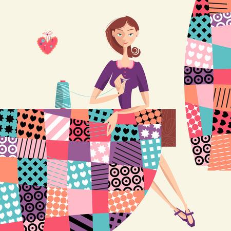 coser: La mujer hace una colcha. Labor de retazos. Ilustración del vector.
