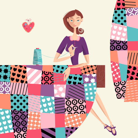 vintage fashion: Woman makes a quilt. Patchwork. Vector illustration.