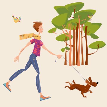 personas corriendo: El hombre camina un perro en un parque. Paisaje. ilustración vectorial