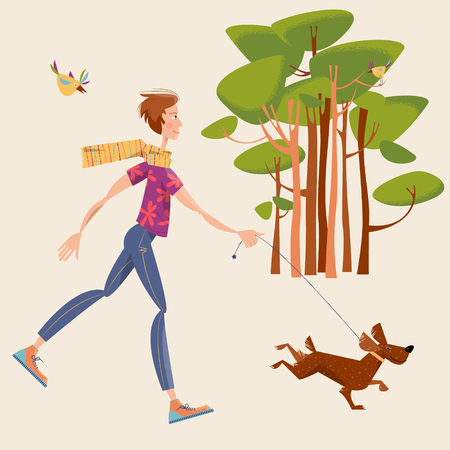 trees silhouette: Man walks a dog in a park. Landscape. Vector illustration