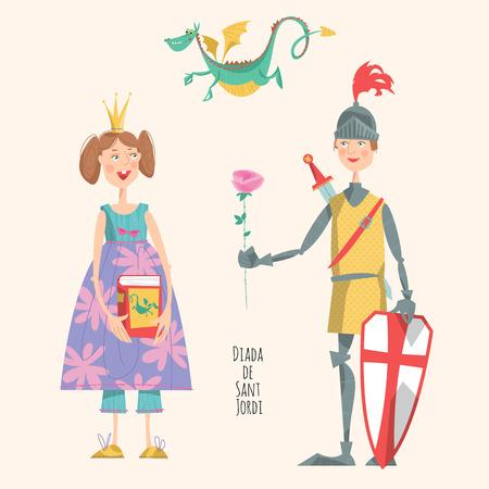 principe: Principessa con un libro, cavaliere con una rosa, e un drago. Diada de Sant Jordi Georges giorno di San. Dia de la Rosa Il giorno della Rosa. Dia del Llibre Il giorno del Libro. Tradizionale festa in Catalogna, Spagna. Illustrazione vettoriale.