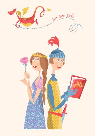 principe: Principessa con una rosa, cavaliere con un libro, e un drago. Bon Sant Jordi (il giorno di San Giorgio). Dia de la Rosa (Il giorno della Rosa). Dia del Llibre (Il giorno del Libro). Tradizionale festa in Catalogna, Spagna. Illustrazione vettoriale.