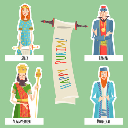 esther: Finger puppets for Jewish festival of Purim. Template. Vector illustration
