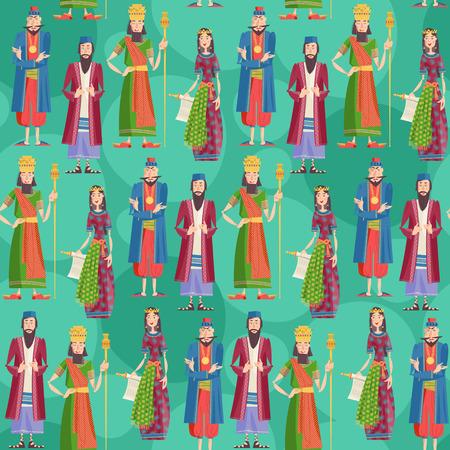 Purim. Księga znaków i bohaterów Esther: Achashveirosh Mordechai, Estera, Haman. Jednolite tło wzór. ilustracji wektorowych