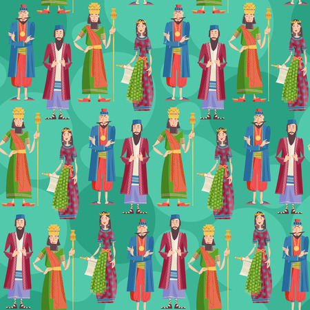 Purim. Book of Esther characters and heroes: Achashveirosh, Mordechai, Esther, Haman. Seamless background pattern. Vector illustration Vectores
