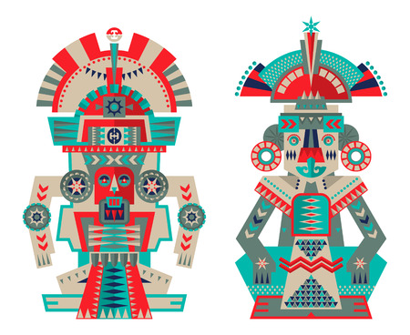 Azteken und Maya Ceremonial Skulpturen. Vektor-Illustration