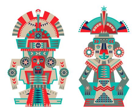Esculturas ceremoniales azteca y maya. ilustración vectorial