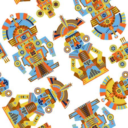 maya: Aztec and Maya Ceremonial Sculptures. Seamless background pattern. Vector illustration Illustration