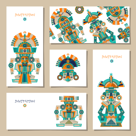 sculptures: Set of 5 universal cards with Aztec and Maya Ceremonial Sculptures. Template. Party, birthday, holiday. Vector illustration