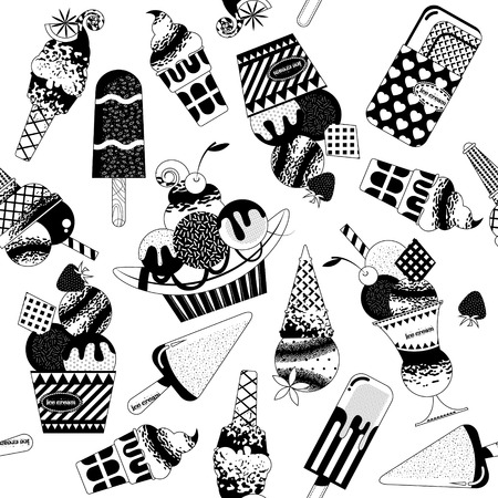 ice cream glass: Different flavors of ice cream. Black and white. Seamless background pattern. Vector illustration.