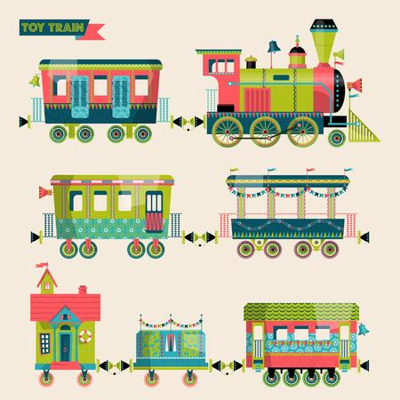Speelgoed trein. Locomotief met verschillende multi-gekleurde coaches. Vector illustratie.
