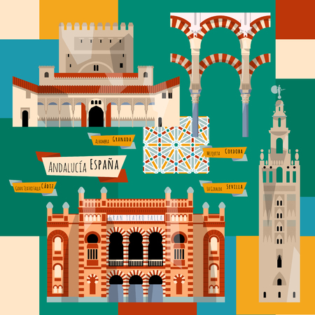 Bezienswaardigheden van Andalusië. Sevilla, Granada, Cordoba, Cadiz, Spanje, Europa. vector illustratie