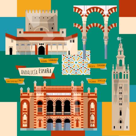 Lugares de interés de Andalucía. Sevilla, Granada, Córdoba, Cádiz, España, Europa. ilustración vectorial Foto de archivo - 55007413