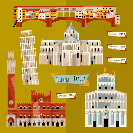 siena italy: Sights of Tuscany. Florence, Lucca, Pisa, Siena, Italy, Europe. Vector illustration
